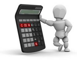 Person with calculator